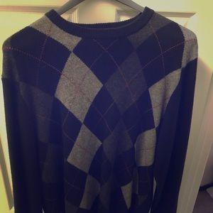 Jos. A Bank Black & Gray Argyle Sweater